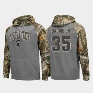 Joe Bachie Michigan State Hoodie Men Realtree Camo #35 Charcoal College Football Raglan