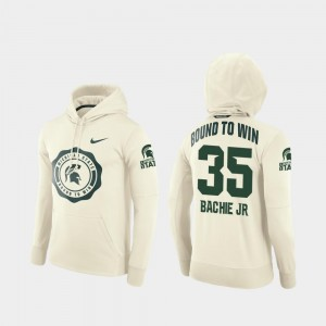 #35 For Men Joe Bachie Michigan State Spartans Hoodie Rival Therma Cream College Football Pullover