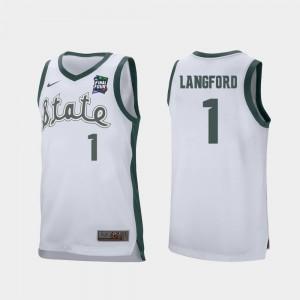 White For Men's Joshua Langford Michigan State University Jersey Retro Performance #1 2019 Final-Four
