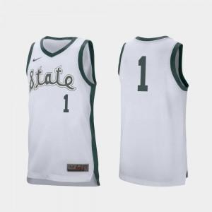 Joshua Langford Spartans Jersey Retro Performance For Men College Basketball #1 White