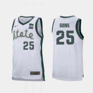 Mens Retro Performance White #25 Kenny Goins Michigan State Jersey 2019 Final-Four