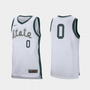 White #0 For Men Retro Performance Kyle Ahrens Spartans Jersey College Basketball