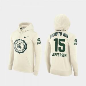 For Men La'Darius Jefferson MSU Hoodie College Football Pullover #15 Rival Therma Cream