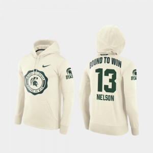 Men College Football Pullover #13 Cream Rival Therma Laress Nelson Michigan State Spartans Hoodie