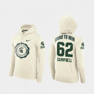 Men Rival Therma Luke Campbell Michigan State University Hoodie #62 College Football Pullover Cream