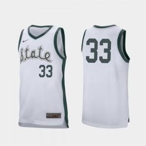 College Basketball White Mens Magic Johnson Michigan State University Jersey #33 Retro Performance