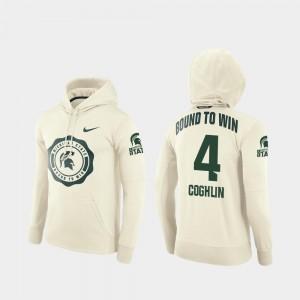 Men Matt Coghlin Michigan State Hoodie #4 Rival Therma College Football Pullover Cream