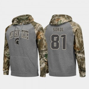 Charcoal For Men College Football Raglan Matt Sokol Michigan State Hoodie #81 Realtree Camo