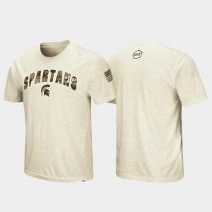 Men's OHT Military Appreciation Desert Camo Michigan State T-Shirt Oatmeal