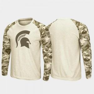 Oatmeal MSU T-Shirt Mens OHT Military Appreciation Raglan Long Sleeve Desert Camo