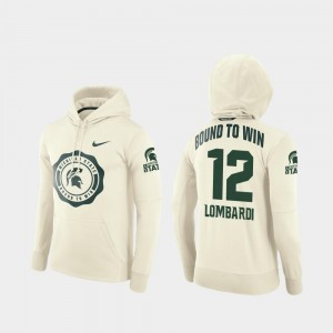 For Men Rocky Lombardi Michigan State Spartans Hoodie Cream #12 Rival Therma College Football Pullover