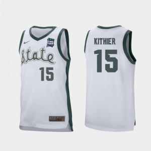 White Men Retro Performance Thomas Kithier Michigan State University Jersey #15 2019 Final-Four