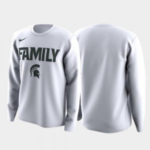 White Men's Family on Court Michigan State Spartans T-Shirt March Madness Legend Basketball Long Sleeve