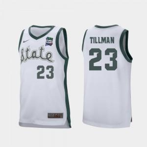 Retro Performance Men's #23 Xavier Tillman Spartans Jersey White 2019 Final-Four