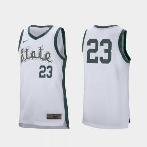 Retro Performance White #23 Xavier Tillman MSU Jersey College Basketball Men