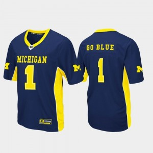 Wolverines Jersey Football Max Power #1 For Men's Navy