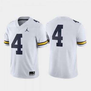 Wolverines Jersey #4 Men White Game College Football Jordan Brand