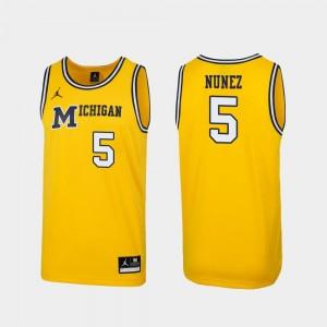 Replica Maize 1989 Throwback College Basketball Adrien Nunez Michigan Wolverines Jersey #5 Mens