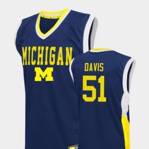 Austin Davis Wolverines Jersey Fadeaway College Basketball Mens #51 Blue