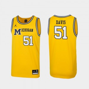 For Men's Austin Davis Wolverines Jersey Replica #51 1989 Throwback College Basketball Maize