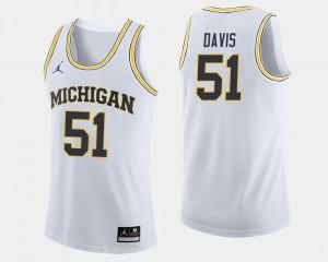 Mens College Basketball #51 White Austin Davis Michigan Jersey Jordan Brand