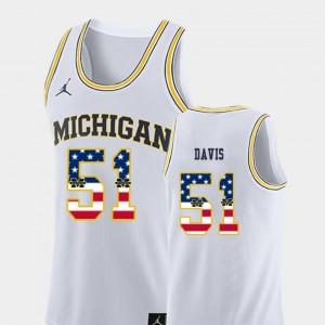 #51 Mens Austin Davis Michigan Jersey College Basketball Jordan Brand USA Flag White