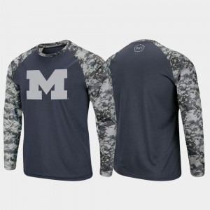 University of Michigan T-Shirt For Men's OHT Military Appreciation Raglan Long Sleeve Digi Camo Charcoal Camo
