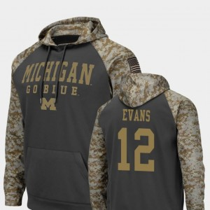 Chris Evans Michigan Hoodie #12 Colosseum Football For Men's United We Stand Charcoal