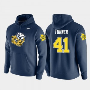 Mens Christian Turner University of Michigan Hoodie Navy #41 Vault Logo Club Nike Pullover