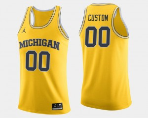 Michigan Customized Jersey Mens Jordan Brand #00 Maize College Basketball