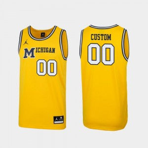 1989 Throwback College Basketball Maize Michigan Custom Jersey Men #00 Replica