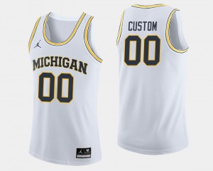 #00 White College Basketball University of Michigan Customized Jerseys Men Jordan Brand