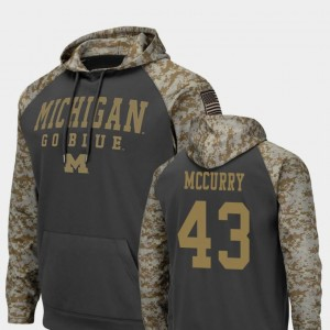 #43 United We Stand For Men Charcoal Colosseum Football Jake McCurry Michigan Hoodie