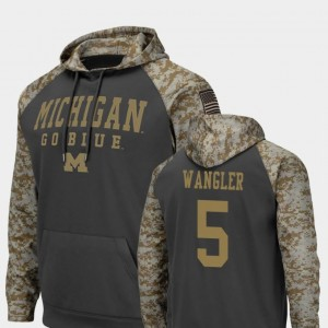 United We Stand Colosseum Football #5 Mens Jared Wangler Michigan Wolverines Hoodie Charcoal