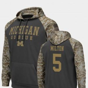 United We Stand Joe Milton University of Michigan Hoodie For Men's Colosseum Football Charcoal #5