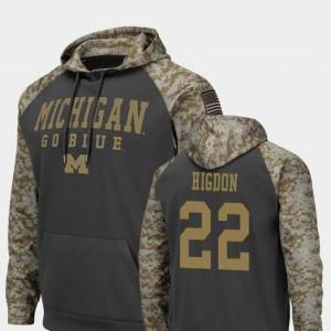 Mens Colosseum Football Karan Higdon University of Michigan Hoodie United We Stand #22 Charcoal