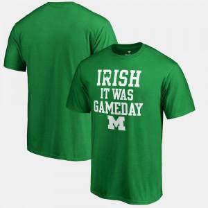 St. Patrick's Day Mens Irish It Was Gameday Michigan T-Shirt Kelly Green
