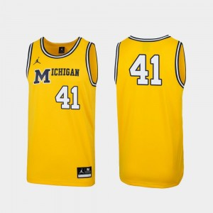 Maize Replica #41 1989 Throwback College Basketball University of Michigan Jersey For Men