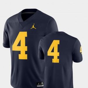 Michigan Jersey #4 For Men College Football 2018 Game Jordan Brand Navy