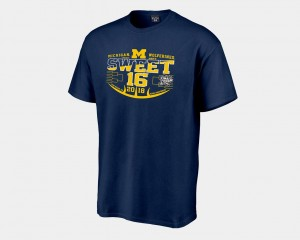2018 March Madness Basketball Tournament Men's Sweet 16 Bound Michigan Wolverines T-Shirt Navy