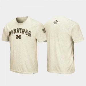 OHT Military Appreciation University of Michigan T-Shirt Oatmeal Men Desert Camo