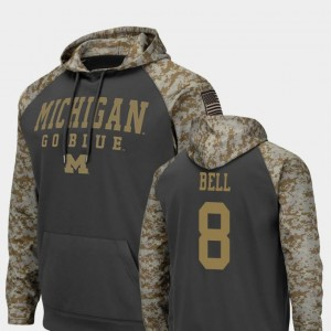 Charcoal For Men Ronnie Bell Michigan Hoodie United We Stand #8 Colosseum Football