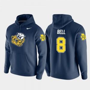 #8 Nike Pullover Vault Logo Club Navy Ronnie Bell Michigan Hoodie Men's