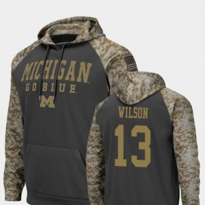 Colosseum Football Charcoal #13 United We Stand Tru Wilson Wolverines Hoodie For Men