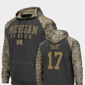 Colosseum Football #17 United We Stand Will Hart Michigan Hoodie Charcoal For Men's