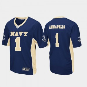 For Men's Football Max Power United States Naval Academy Jersey #1 Navy