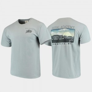 For Men's Navy T-Shirt Comfort Colors Campus Scenery Gray