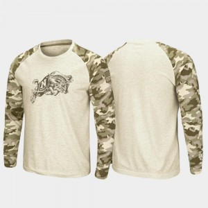 OHT Military Appreciation Oatmeal Raglan Long Sleeve Desert Camo Mens Navy Midshipmen T-Shirt