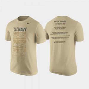 Tan For Men's Nike Cotton Military Creed Midshipmen T-Shirt