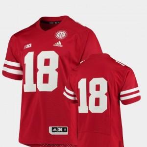 For Men College Football Premier Adidas #18 University of Nebraska Jersey Scarlet